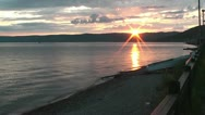 Beautiful sunset at lake baikal in siberia Stock Footage