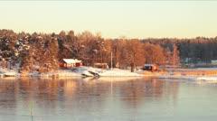 Scandinavian Islands on Sunny Winter Morning Stock Footage