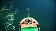 Cargo ship passing by Stock Footage