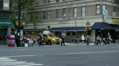 NYC Traffic & Pedestrians at cross section E52 & 2nd Av Stock Footage