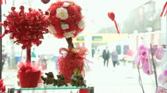 Valentine's Day Window Display In Flower Shop - Candy Tree - stock footage