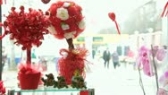 Stock Video Footage of Valentine's Day Window Display In Flower Shop - Candy Tree