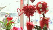 Valentines Day Window Display Decoration Closeup Stock Footage
