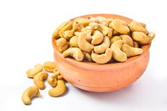 Stock Photo of cashews nut in bowl on white background