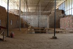 Interior atrium in huaca de la luna archaeological site. Stock Photos