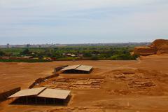 archaeological excavation in huaca de la luna y del sol. - stock photo