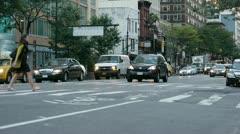 NYC Traffic E52 & 2nd Av mid shot 50fps Stock Footage
