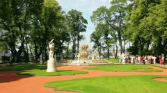Summer garden park in St. Petersburg Russia - timelapse in motion - stock footage