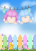 Babies humor - stock illustration