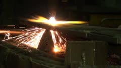 Acetylene torch cutting metal Stock Footage