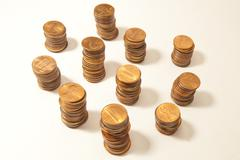 Stacks of Pennies Stock Photos