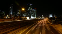 Diamond Exchange Zone and Ayalon highway Ramat Gan Tel Aviv Israel Stock Footage