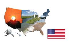 Map of sides of usa Stock Illustration