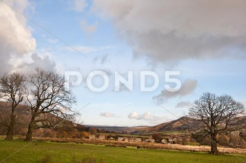 Stock photo of mam tor and kinder scout foothills in peak district national park