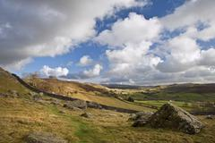 moughton scar and wharfe dale viewed from norber erratics in yorkshire dales - stock photo
