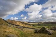 Moughton scar and wharfe dale viewed from norber erratics in yorkshire dales Stock Photos