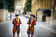Swiss Guards at the entrance of Vatican Stock Photos