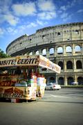Snacks market stall near the Colosseum in Rome - stock photo