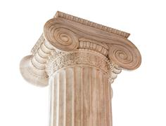 Ionic column capital on white - stock photo