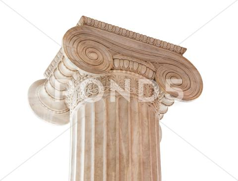 Stock photo of Ionic column capital on white