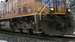 Railroad Union Pacific passing on track rural HD 5030 Stock Footage