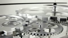 Clock face with cogs and dials Stock Footage