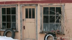 Historic abandoned gas station pump pan HD 5053 Stock Footage