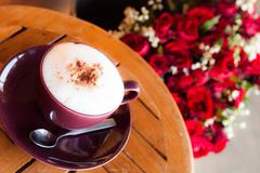 Romantic breakfast coffee and red rose Stock Photos
