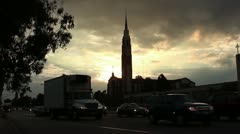 Church at Sunrise - Moderate Traffic Volume Stock Footage