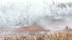 Natural hot springs winter hoar frost fast HD 5075 Stock Footage