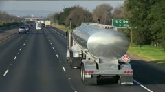 Fuel tanker truck freeway Stock Footage