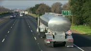 Fuel tanker truck freeway Stock Footage