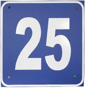 "the metal plate with the number ""25"" - stock photo"
