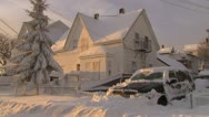 Blizzard houses buried in Snow Stock Footage
