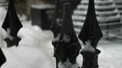 Fence in the snow winter (9 of 15) Stock Footage