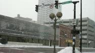 Street corner in the snow winter (11 of 15) Stock Footage