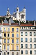 Stock Photo of famous fourviere basilica and building