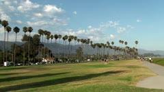 East Beach and palm trees. Santa Barbara, California, USA. Stock Footage