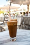 frappes on a cafe table - stock photo