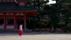 Heian Jingu Priestesses Stock Footage
