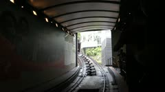 Train arrive to station at Victoria Peak Stock Footage