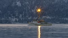 Alaskan Fishing Boat Trawler on Wintry Bay Waters 8 - Close Tracking Shot Stock Footage