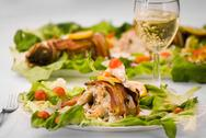 Fish and wine Stock Photos