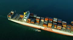 Aerial View of Ocean Container Ship Hong Kong Island - stock footage