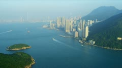 Aerial View Lower Hong Kong Island  - stock footage