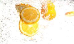 spalsh lemon - stock photo