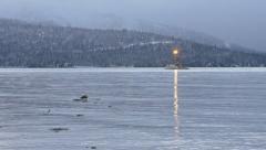 Alaskan Fishing Boat Trawler on Wintry Bay Waters 7 - Long shot Stock Footage
