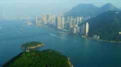 Aerial View Lower Hong Kong Island  Stock Footage
