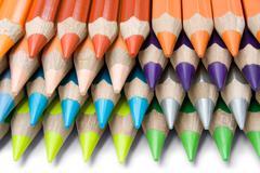 Layered Colored Crayons Stock Photos