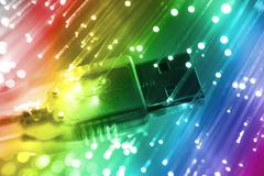Stock Photo of fiber optics background with lots of light spots